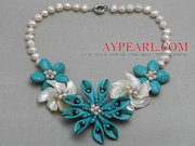White Freshwater Pearl Shell and Turquoise Flower Necklace